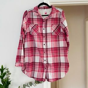 3 for $25 No Bo Pink plaid Flannel shirt lace back